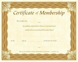 Membership Certificate (Pk of 6) - Parchment