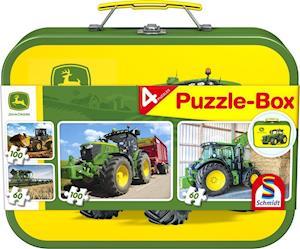 John Deere, Puzzle-Box, 2 x 60, 2 x 100 Teile im Metallkoffer