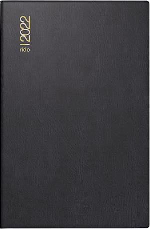 rido/idé 7016212901 Tageskalender/Taschenkalender 2022 Modell Industrie II, Kunststoff-Einband, schwarz