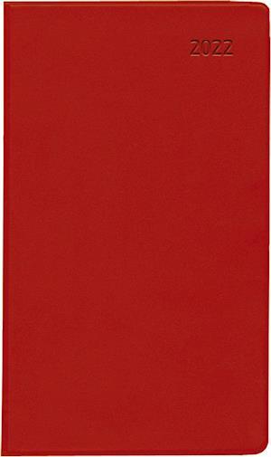 Taschenplaner PVC rot 2022 - Büro-Kalender 9,5x16 cm - 1M/2S - separates Adressheft - faltbar - Notiz-Heft - 520-1013-1