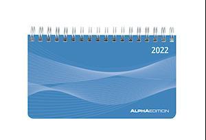 Querkalender Mini PP-Einband blau 2022 - Tisch-Kalender - 15,6x9 cm