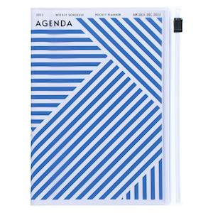 MARK'S 2021/2022 Taschenkalender A6 vertikal, Geometric Pattern // BLUE
