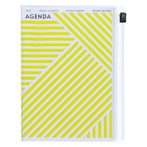 MARK'S 2021/2022 Taschenkalender A6 vertikal, Geometric Pattern // YELLOW