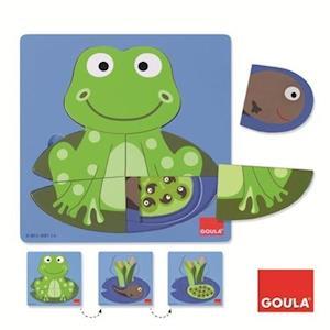 Goula Holzpuzzle 3 Stufen Frosch