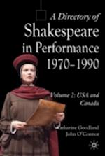A Directory of Shakespeare in Performance 1970-1990 (Directory of Shakespeare in Performance, nr. )