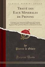 Traite Des Eaux Minerales de Provins