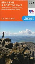 Ben Nevis and Fort William, the Mamores and the Grey Corries, Kinlochleven and Spean Bridge (OS Explorer Map, nr. 392)