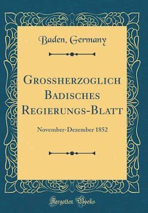 Bog, hardback Groherzoglich Badisches Regierungs-Blatt af Baden Germany