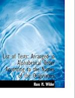 List of Tests af Hans M. Wilder