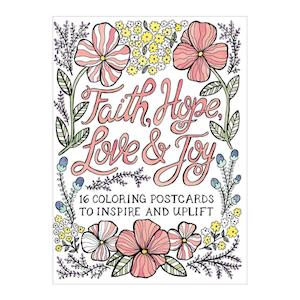 Bog, ukendt format Faith, Hope, Love & Joy Coloring Postcards af Galison