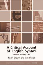 A Critical Account of English Syntax (Edinburgh Textbooks on the English Language - Advanced)