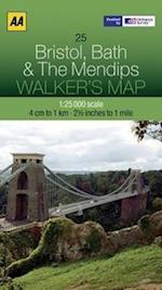 Bristol, Bath and the Mendips (Walker's Map)