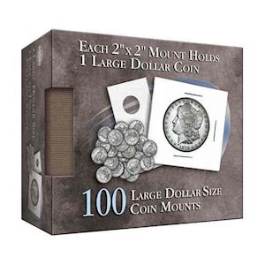 Large Dollar 2x2 Coin Mounts Cube 100 Count
