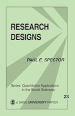Research Designs (QUANTITATIVE APPLICATIONS IN THE SOCIAL SCIENCES, nr. 23)