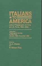 Italians to America, Jan. 1880 - Dec. 1884 (ITALIANS TO AMERICA, nr. 1)