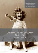 Child Insanity in England, 1845-1907 (Palgrave Studies in the History of Childhood)