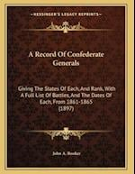 A Record of Confederate Generals af John A. Booker