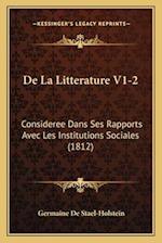 de La Litterature V1-2 af Germaine De Stael-Holstein