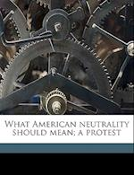 What American Neutrality Should Mean; A Protest af Richard S. Rauh