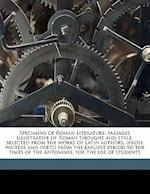 Specimens of Roman Literature af Peake Banton, Charles Thomas Cruttwell