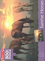 Sunrise Horses Cardboard Jigsaw Puzzle