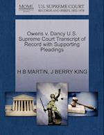 Owens V. Dancy U.S. Supreme Court Transcript of Record with Supporting Pleadings