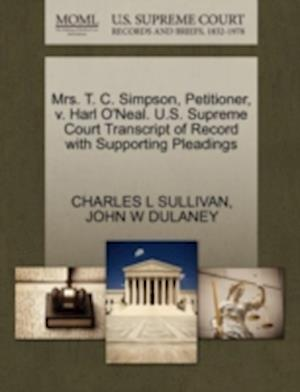 Mrs. T. C. Simpson, Petitioner, V. Harl O'Neal. U.S. Supreme Court Transcript of Record with Supporting Pleadings