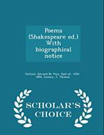 Poems (Shakespeare Ed.) with Biographical Notice - Scholar's Choice Edition af J. Thomas Looney