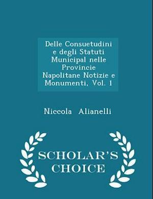 Delle Consuetudini e degli Statuti Municipal nelle Provincie Napolitane Notizie e Monumenti, Vol. 1 - Scholar's Choice Edition