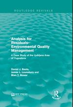 Analysis for Residuals-Environmental Quality Management af Daniel J. Basta