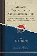 Memoirs Department of Agriculture in India af F. J. Warth