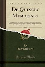 de Quincey Memorials, Vol. 1 of 2
