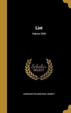 Bog, hardback List; Volume 1910