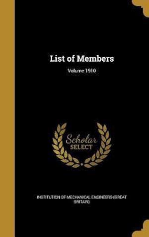 Bog, hardback List of Members; Volume 1910