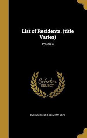 Bog, hardback List of Residents. (Title Varies); Volume 4