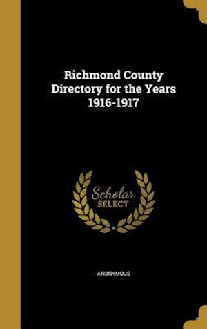 Bog, hardback Richmond County Directory for the Years 1916-1917
