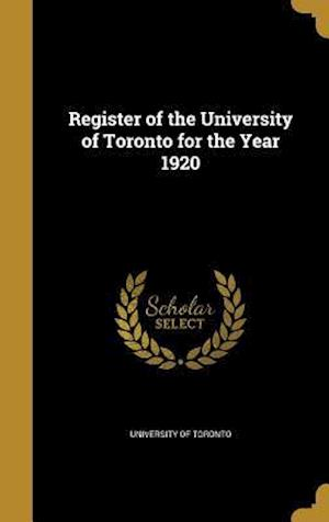 Bog, hardback Register of the University of Toronto for the Year 1920