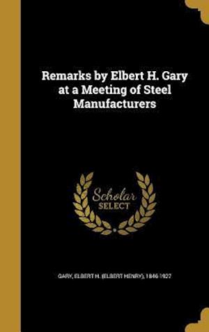 Bog, hardback Remarks by Elbert H. Gary at a Meeting of Steel Manufacturers