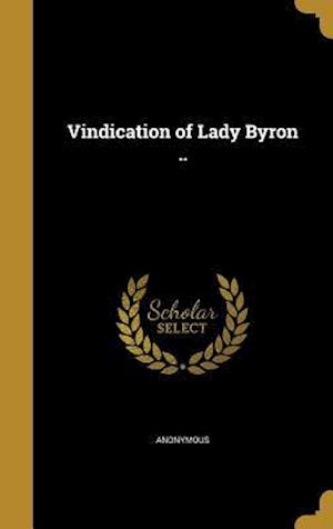 Bog, hardback Vindication of Lady Byron ..