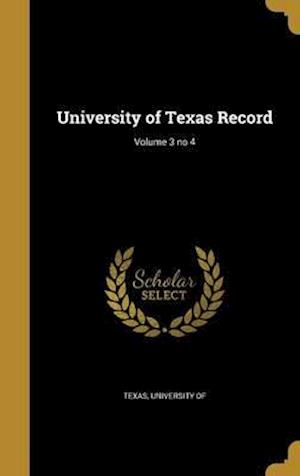 Bog, hardback University of Texas Record; Volume 3 No 4
