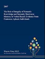 The Role of Integrity of Semantic Knowledge and Semantic Short-term Memory in Verbal Recall: Evidence From Cantonese Aphasic Individuals