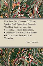 Pen Sketches - Streets of Cairo, Sphinx and Pyramids, Bedouin Wedding Festival, Venetian Serenade, Modern Jerusalem, Colosseum Illuminated, Bazaars of af Finley Acker