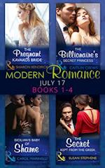 Modern Romance Collection: July 2017 Books 1 - 4: The Pregnant Kavakos Bride / The Billionaire's Secret Princess / Sicilian's Baby of Shame / The Secret Kept from the Greek (Mills & Boon e-Book Collections) af Caitlin Crews, Carol Marinelli, Sharon Kendrick