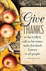Give Thanks Apples Thanksgiving Bulletin (Pkg of 50)
