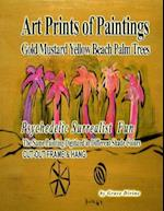 Art Prints of Paintings Gold Mustard Yellow Beach Palm Trees