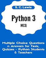 Python 3 McQ - Multiple Choice Questions N Answers for Tests, Quizzes - Python Students & Teachers