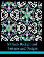 50 Black Background Patterns and Designs af Mindful Coloring Books