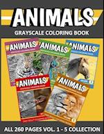 Animals Grayscale Coloring Book Vol. 1 - 5 Collection