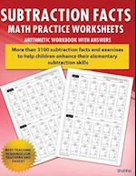 Subtraction Facts Math Practice Worksheet Arithmetic Workbook with Answers