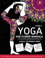 Yoga and Flower Mandala Adult Coloring Book